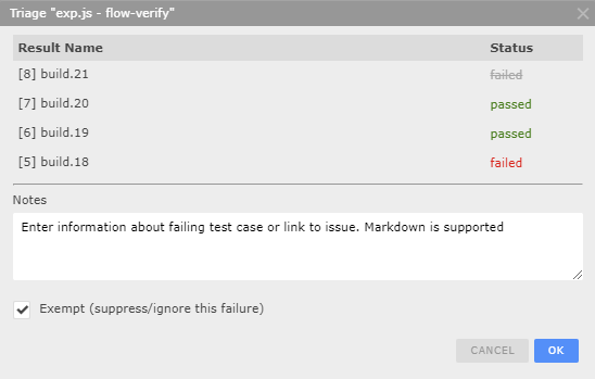 Managing failures from automated test